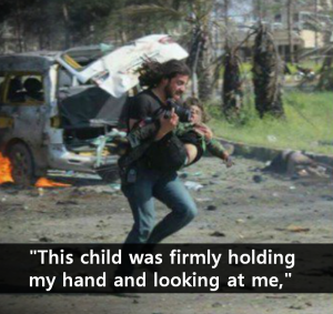 A STEP TOWARDS PEACE Abd Alkader Habak : A Photographer Dashing with Child & Camera in Syria Syrian civil war Syria reporter Syria refugees Peace Omran Daqneesh Muhammad Alrageb CNN buses carrying evacuees Bomb beach refugee Bana Alabed ambulance Aleppo Alan Kurdi Abd Alkader Habak 68 children 126 killed