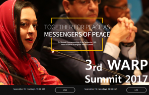 A STEP TOWARDS PEACE The purpose of 3rd WARP Summit 2017 World Peace WARP Summit 2017 Syria religions harmony Peace messenger together Omran Daqneesh IWPG IPYG HWPL DPCW culture of peace Bana Alabed Alliance of Religions Alan Kurdi 3rd WARP Summit