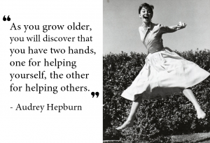 A STEP TOWARDS PEACE Writing practice : Audrey Hepburn Quotes #4 you have two hands Writing practice UNICEF Goodwill Ambassador Unicef Tony Awards Peace Grammy Awards Emmy Awards Audrey Hepburn Quotes Audrey Hepburn Academy Awards